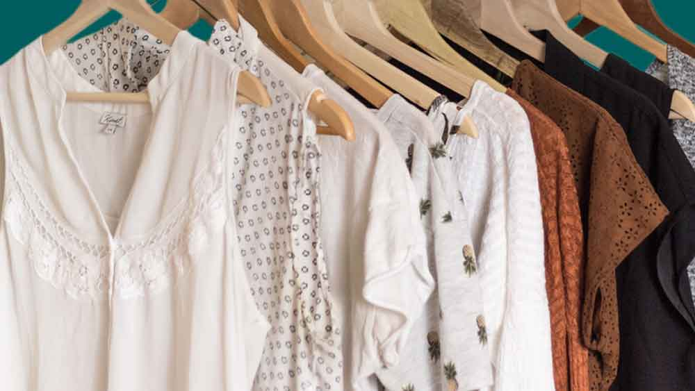 row of maternity clothes