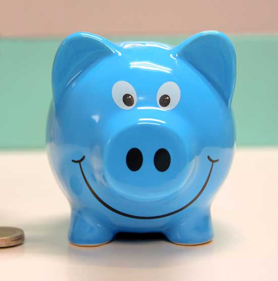 deals page blue piggy bank