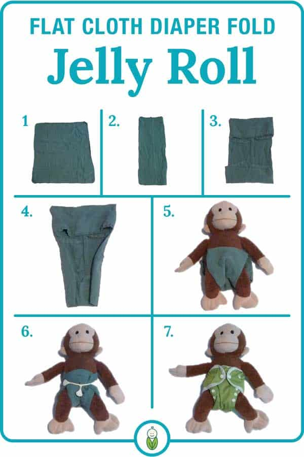 how to flat cloth diaper fold jelly roll